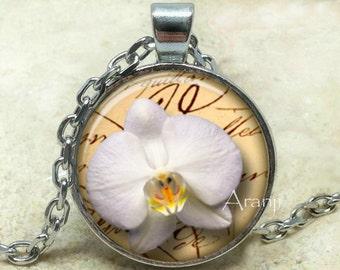 White orchid love letter pendant, white orchid necklace, orchid pendant, orchid necklace, white orchid, Pendant #PL200P