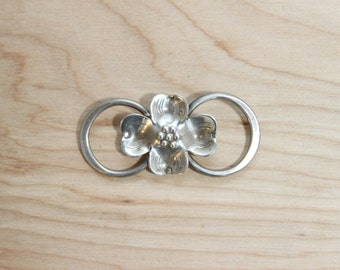 Sterling Silver Tooled Metal Dogwood Blossom Brooch Pin