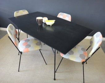 Mid Century Black Laminate Table and Chairs-On Sale