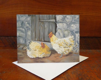 Chickens in a Barnyard: Folded Blank Note Card, Stationary
