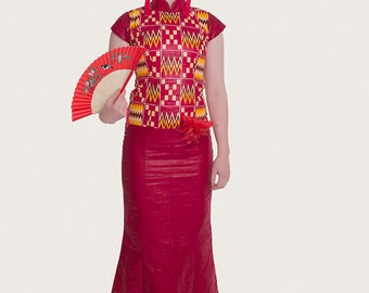 Eleganta Chinese Influenced Red African Print Dress