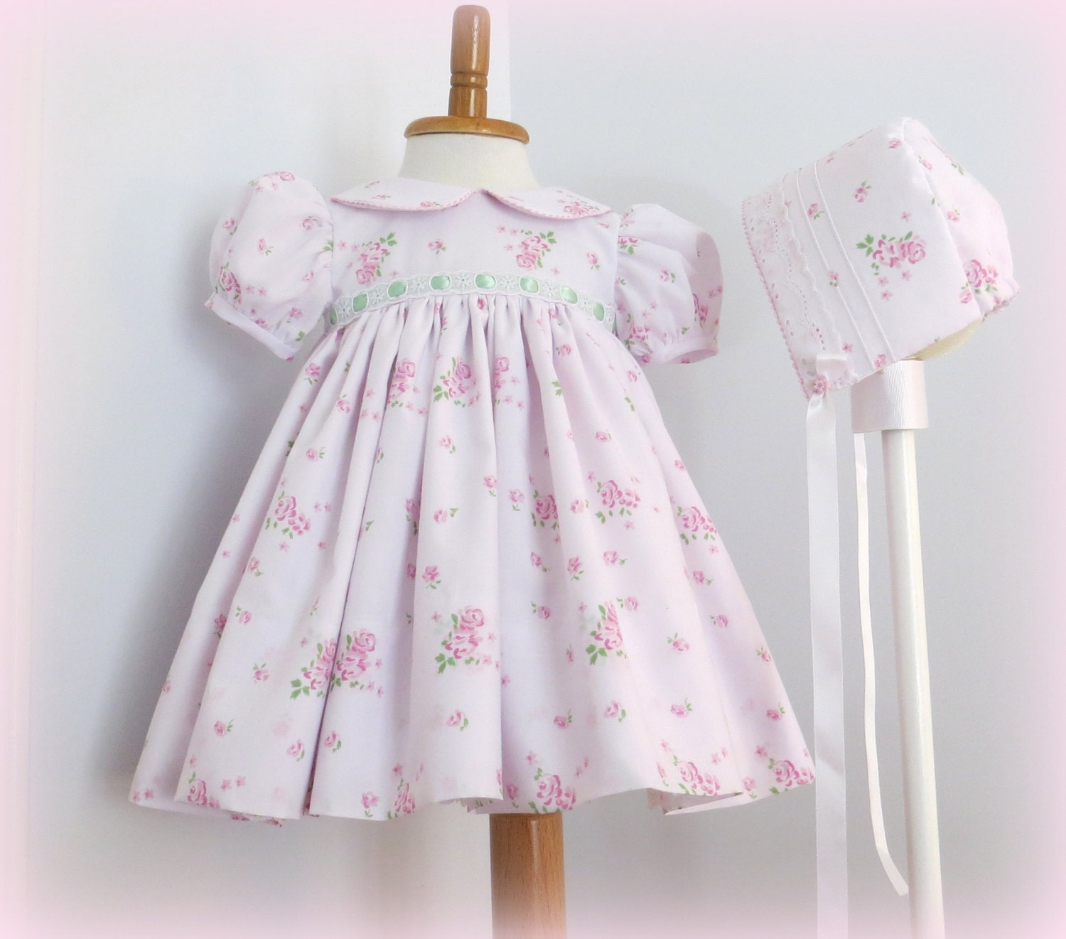 Infant Girl Special Occasion Dress and Bonnet Heirloom