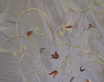 Embroidered Floral Dupioni Silk Fabric