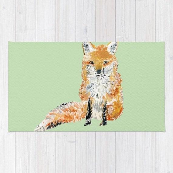 Fox area rug waldland teppich kinderzimmer teppich von lake1221