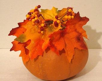 Pumpkin Kettle Gourd with Floral Arrangement, Small, Original, (HF1003)