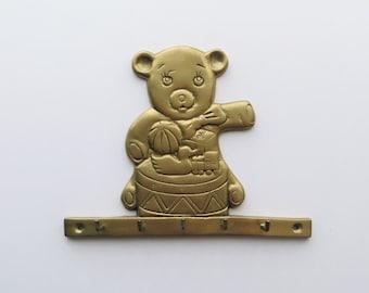 80s Brass Teddy Bear Wall Hook Nursery Kids Decor