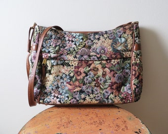 80s SAS Floral Tapestry Purse with Brown Leather Trim Made in USA