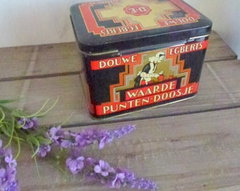 old coffee tin- coffee time gift- red black gold home interior- retro kitchen storage- Dutch coffee - tin collection - for saving coupons