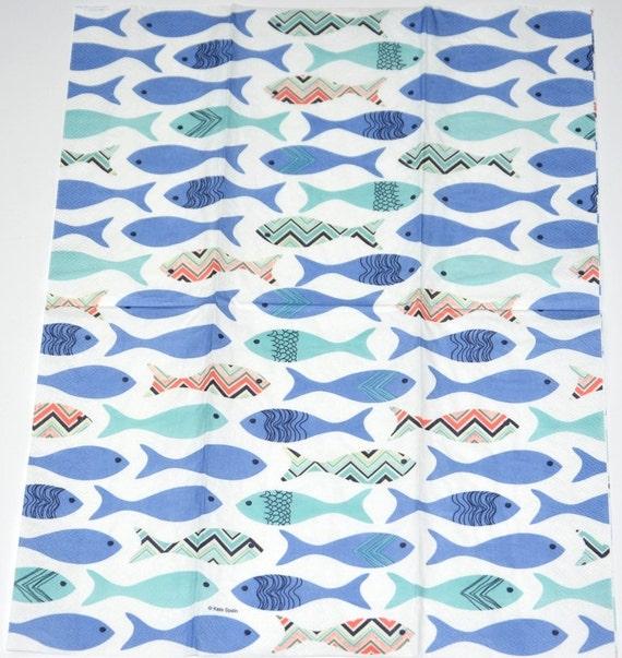 3 Blue Fish Pattern Paper Napkins Chevron Fish Decoupage