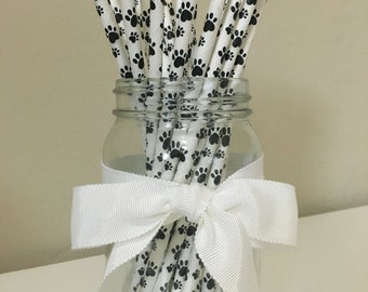25 Paw Print Paper Straws / Cake Pop Sticks