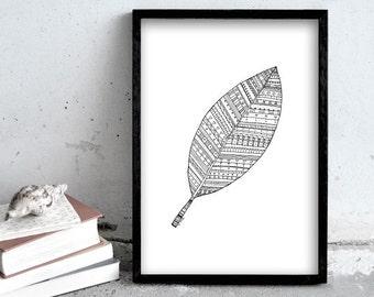 Leaf illustration, Pen drawing print, simple black and white art print, nature print poster, black and white, motif pen illustration