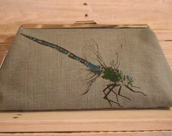 Screen-printed Blue Dragonfly Clutch Bag