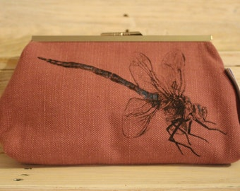Screen-printed Pink Dragonfly Clutch Bag
