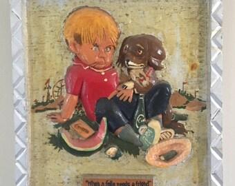 Kitsch 1970's Wood Carved Wall Art Boy & Dog
