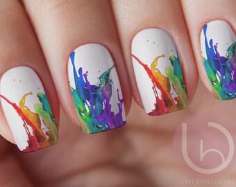 Dancing ColorsWaterslide Nail Decal, Nail Design, Nails, Press On Nail Decal, Nail Design, Nail Art, Paint Splatter