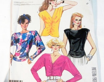 "1980s Sleeveless Blouse Dolman Sleeve Top knit sewing pattern McCalls 2582 Size 8 Bust 31.5"" UNCUT FF"