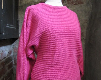 80s Pink Batwing Knit Sweater, S // Vintage Vertical Knit Jumper