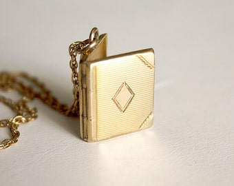 Small Gold-filled Book Locket Necklace, vintage book locket, yellow gold-filled book locket, vintage gold-filled locket necklace