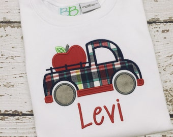 Boys back to school shirt, Boys plaid truck shirt, Truck with Apple Appliquéd Tee Shirt, Truck with apple shirt