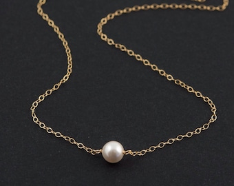 Solitaire Pearl Necklace, One Single White Pearl and 14k Gold Filled Fine Chain, Simple, Dainty, Minimalist Necklace