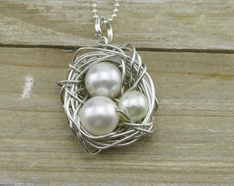 Silver Handmade Wire Birds Nest with Pearl Eggs w/Silver Necklace