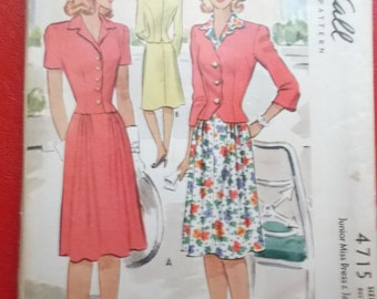 Vintage McCall 4715 Sewing Pattern Size 14  Dress and Jacket 1940s Fashions