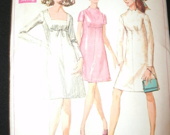 UNCUT and FF Pattern Pieces Simplicity 7898 Sewing Pattern Size 14 A Line Dress l