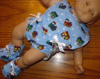 Train print Bitty Baby  Doll Clothes Set  1 Bib  1 Diaper 1 pair of slippers flannel fabric blue