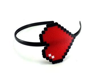 Headband - 8 Bit Heart Headband - Pixel Headband - 8 Bit Headband - Video Game Headband - 8 Bit Heart Wedding - Video Game Wedding