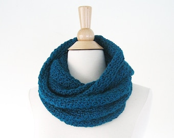 Teal Infinity Scarf Knit   Knit Infinity Scarf   Crochet Scarf   Infinity Scarf Crochet   Loop Scarf