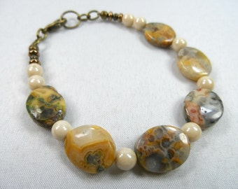 """Crazy Lace Agate Beaded Bracelet with Lobster Closure - Antique Brass 7.5"""" wrist"""