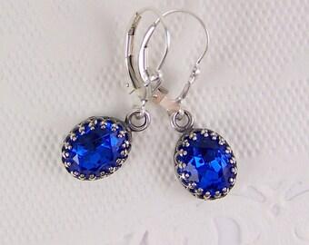 Blue Sapphire Earrings, September Birthstones, Bezel Set Sapphire, Sterling Silver Sapphires, Oval Sapphire Earrings, Dark Blue Sapphire Set