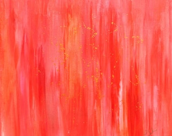 Abstract Painting Original Art 20x20 Home Decor Orange Pink Tropical Decor by Nacene Prchal