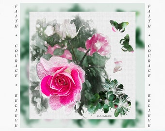 Greeting Cards for Breast Cancer Patients & Survivors, Card for Cancer Patient, Floral watercolor painting, rose picture, digital art