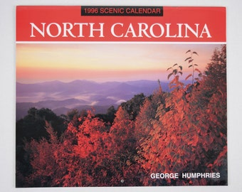 Vintage 1996 George Humphries Scenic North Carolina Collectible Wall Calendar