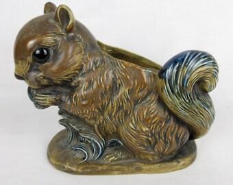Vintage Squirrel Planter, Blue / Brown, Napcoware Japan, Mid Century Ceramic