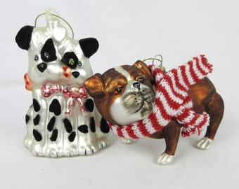 Vintage Christmas Ornaments, Pair of Blown Glass Dogs, Dalmation, Shar Pei