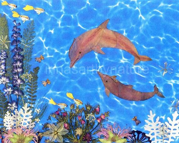 "Art print  ""Dolphins"" 8''x10'' Pressed Flower Art Real Flowers Oshibana Mixed Media"