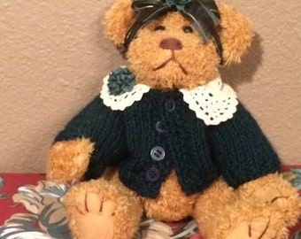 Vintage Boyd's Bear Dressed in Green Sweater and Green Hair Bow