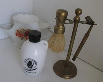 Brass Shaving Set Vintage Mens Shaving Razor and Shaving Brush with Stand  Mustache Mug Gift for Him
