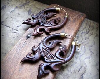 Wood Hoop Earrings ~ tribal fake gauge festival style boho jewelry ~ eco natural carved Burning Man Belly Dance ~ Vegan, brass, wooden