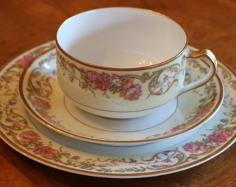 "Haviland (Theodore) Limoges France ""Portland"" Pattern Pink Floral Gold Trim Snack Set Trio With Coffee Cup, Saucer and Salad Plate, Tea Set"