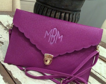 Scallop Envelope Clutch Purse with Three Initial Monogram/Bridesmaid's Gifts/Graduation Gift