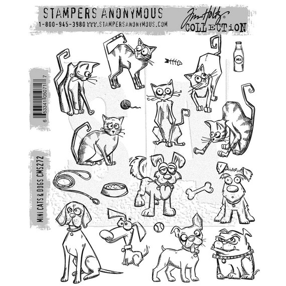 Tim Holtz Stamp Mini Cats And Dogs