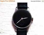 "SALE - Soviet watch Russian watch Vintage Watch Men watch Mechanical watch - black clock face watch-classic watch- USSR Vintage ""POBEDA"""