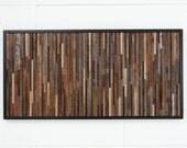 "Wood wall art, made of old barnwood, 48"" long x 24"" high"