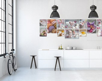Gallery wall Food photography in Large Canvas art, kitchen decor, kitchen Wall art, farmhouse decor rustic decor macaron pink yellow