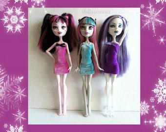 Monster High Doll Clothes - Lot of 3 Handmade Custom Velvet Dresses #27 - by dolls4emma