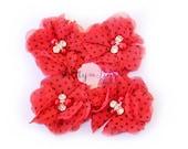 Red/Black Dot Kaitlyn Collection Pearl Chiffon Flowers...You Choose Quantity...Chiffon Pearl Rhinestone Flowers...DIY Headbands