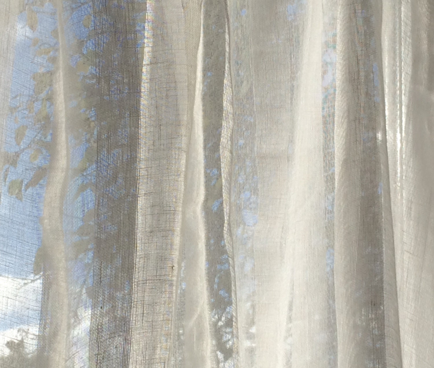 White Sheer Curtains Striped Linen Curtain Panels For Living
